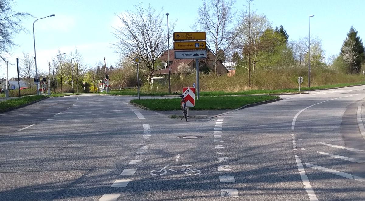 Bescheuerter Radweg in Kiel